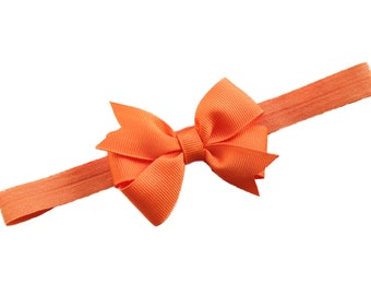 Orange bow headband - orange baby headband, baby headband, newborn headband, baby girl headband, halloween headband