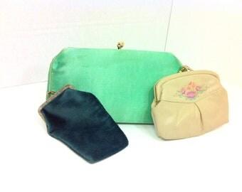20 SALE -- Vintage Hanbag Lot - Clutch Coin Purse Cigarette Pouch Trio - Mint Handbag - 1960s Handbag LOT