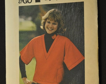 Pull-Over Top Misses' Size 16 Uncut Vintage 1970s Sewing Pattern Butterick 3814 Sew and Go