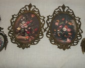 Set of Six Convex Glass and Brass Picture Frames Flowers and Mirror Made in Italy