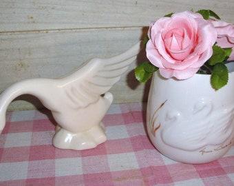 Vintage Haeger Art Deco Ceramic Swan Figurine and Free Gloria Vanderbilt Vase - Collectible - Home Decor - Shabby Chic- Cottage Decor- Retro