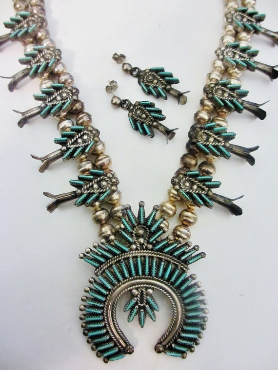 RESERVED for Lisa Vtg Sterling Silver Zuni Turquoise Native American Eva Wyaco Squash Blossom Necklace & Pierced Earrings Set