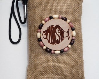 Hemp padded pipe pouch with wood burned and beaded accent