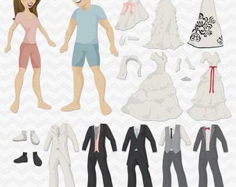 Wedding Paper Dolls PDF -  printable paper dolls - Bride and Groom, Marriage