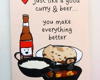 Funny Indian Food-inspired Greetings Card - Curry & Beer