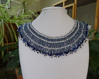 CLEARANCE 1/2OFF, Netted Stitch, Beadwoven, Blues and Silver Sparkle Egyptian Collar, Size Large