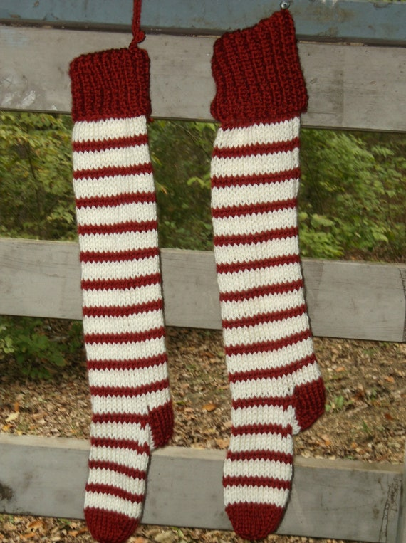 Handmade Knit Old-fashioned Christmas Stocking by britnoly on Etsy