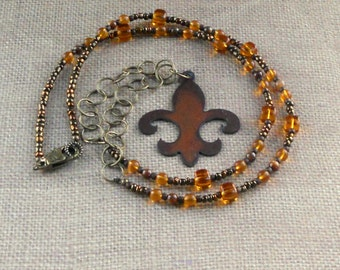 Fleur de Lis Rustic Pendant Extra Large Brown Bronze Long Beaded Statement Necklace Chunky Fashion Jewelry Earth Tones Amber Iridescent