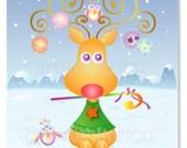 Reindeer poster, print, Christmas