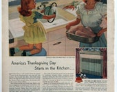 Vintage 1946 Ad Thanksgiving Kitchen Sink Kelvinator American Standard