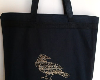 Edgar Allan Poe Nevermore Raven embroidery tote market beach bag recycled