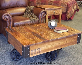 Factory Cart Coffee Table   Wooden Coffee Table   Rustic Coffee Table    Barnwood Coffee Table