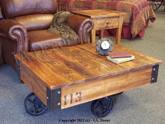 Factory cart coffee table wooden coffee table rustic Antique wheels for coffee table