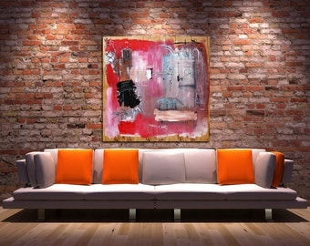 Telemetry of Doubt - Large Original Abstract Painting on Wood Panel
