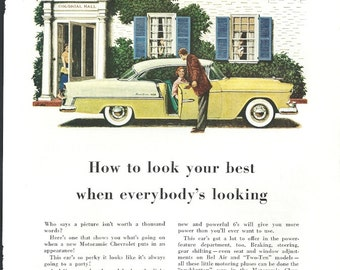 1955 Chevrolet Bel Air Car Ad Colonial Hall Yellow White Car Original Vintage Wall Decor