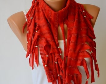 Scarf-Gypsy red jersey beaded fringe chunky scarf -Fashion scarf-Boho scarf-Hippe scarf-70'clothing-Gypsy scarf-Women scarf-Winter scarf