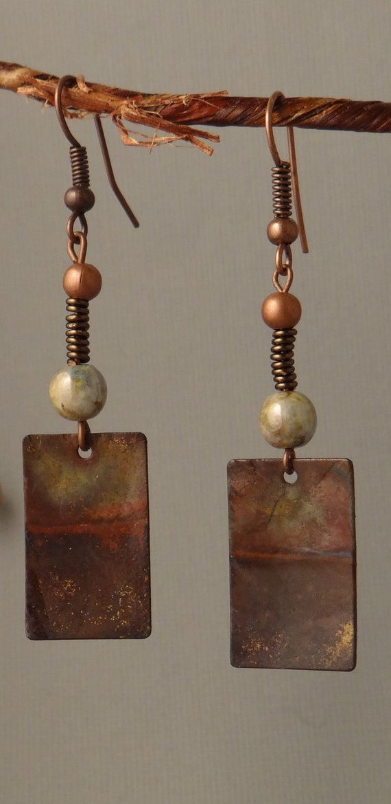 Zen - Fire Patina Copper Earrings with Picasso Czech Glass