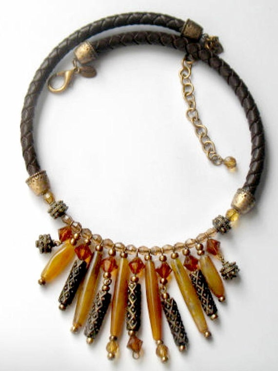 Chicos Tribal Necklace Leather Faux Stone Ethnic Fashion