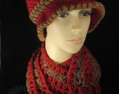 Hat and Scarf Set Deep Rich Red and Chocolate-Womens Hats-Teen Girls Hats-Scarf Set