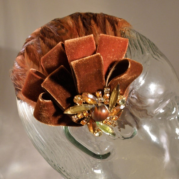 Chocolate Brown and Burnt Orange 1950s Feathered Headpiece