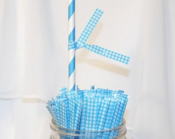 30GinGHaM BLUE TwIsT TiEs , DriNk FlAgS and Seals FoR YoUr HomEbAcKed GooDieS, DIY FaVoR BagS