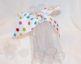 CLEAR PlASTIC TUBES -CaNdY CLEAR PlaStiC FaVor Tubes (set of 10) - CaNDy  GuMbaLLs, pixie dust, PaRTy FaVoRs