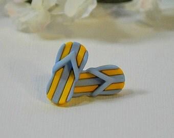 Beach Sandal Earrings - Blue and Yellow Striped Earrings - Flip Flop Beach Jewelry