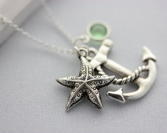 anchor, starfish and birthstone necklace - birthstone necklace - personalized necklace