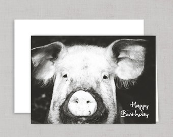 BIRTHDAY CARD, Greeting  card, black and white with pig - 021
