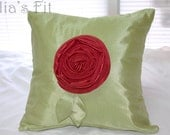 Red Rose Pillow Decorative Throw Cushion Cover Green Silk