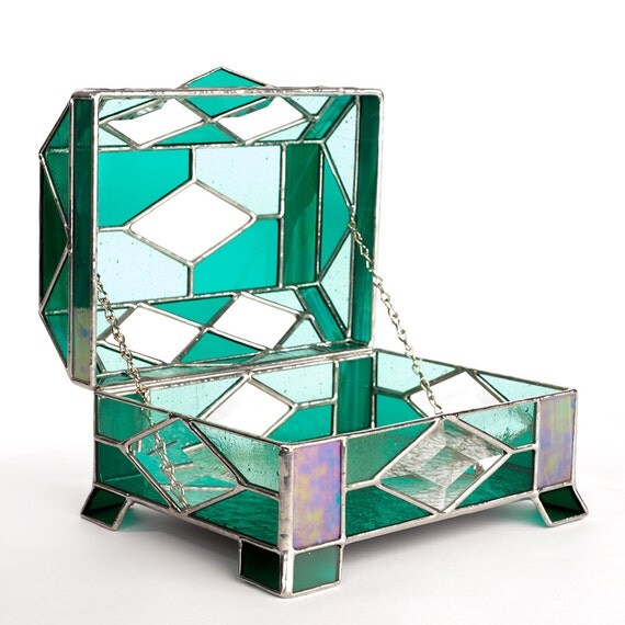 Stained Glass Jewelry Box Beveled In Teal