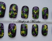 Handpainted Fake Nails Prom or Holiday Design (purple background with flowers)
