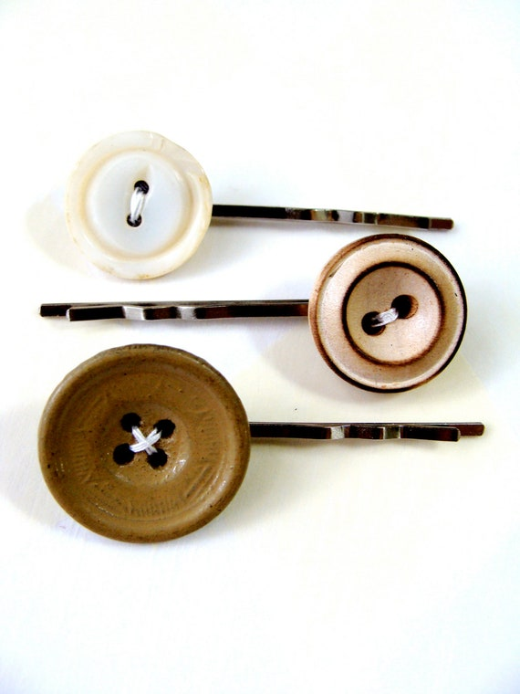 """Button Bobby Pins, Vintage Hair Accessories, Set of 3, Earth Tones & Golds, Upcycled Earthy Hair Pins - """"Brown Sugar Buttons"""""""
