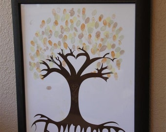 Custom - Personalized Thumb Print Tree - Finger Print Tree - Mother's Day Gift  - Wedding Guest Tree