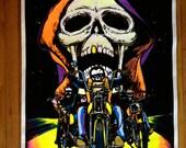 Skull Rider 1984 Flocked Original Vintage Blacklight Poster