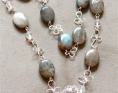 Gemstone Necklace, Labrodorite Wire wrapped Jewelry Magnetic clasp, one of a kind silver necklace