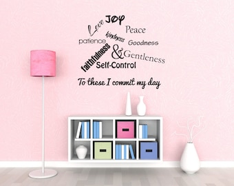 Wall Decal Quote Love Joy Peace Patience Kindness Goodness Faithfulness Gentleness And Self-Control Inspirational Quotes Wall Decals (J110)
