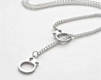 Silver Handcuff Necklace, Lariat Hand Cuff Necklace