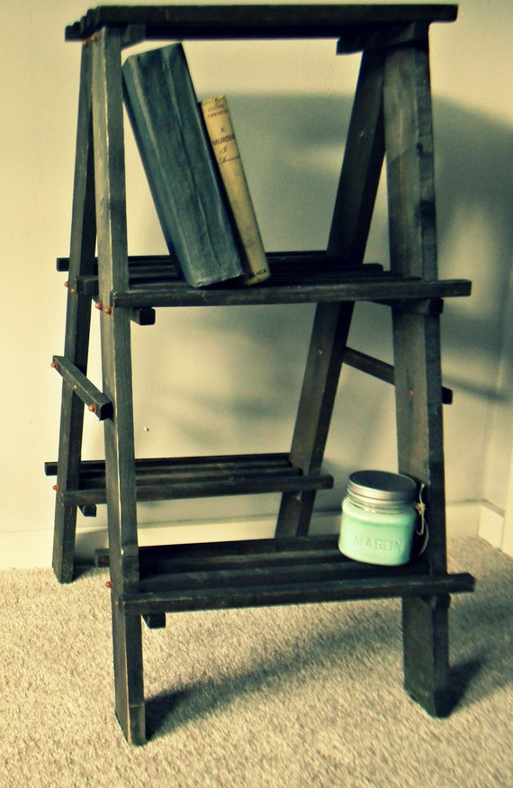 Rustic Wooden Shelf Ladder by TatteredTale on Etsy