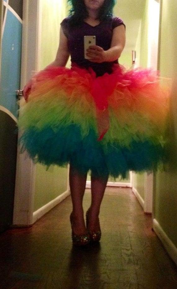 Items similar to Junioru0026#39;s Womenu0026#39;s Misses Rainbow Tutu Cocktail Fluffy Formal Prom Skirt on Etsy