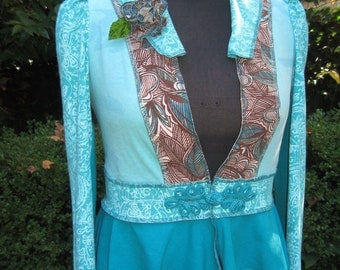 Turquoise Faerie Frock / recycled cotton jacket
