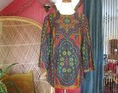 Vtg 60s Vera psychedelic tapestry print cotton tunic