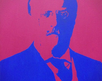 "Teddy Roosevelt Custom President Portrait Pop Art Painting 16""x20"" Canvas"