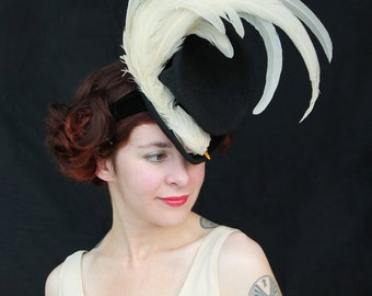 Custom Order: Fabulous Felt Tilt Hat with Gathered Crown & Amazing Faux Bird with Rooster Tail Feathers