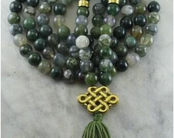 Mala Beads Ayurvedic Stability Mala - Moss Agate Mala Beads, Gold Plated Copper - Buddhist Prayer Beads, 108 Mala Beads