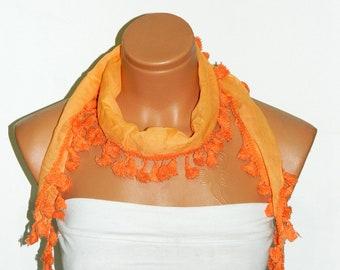 Fabric Fringed tasseled Scarf ..Orange scarf....bandana,headband,wedding,bridal,authentic, romantic,