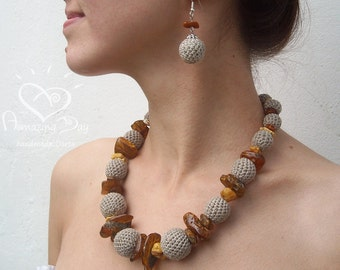AMBER & LINEN NECKLACE. Crochet beaded Raw Baltic Amber. Luxurious Linen necklace.  Rustic Linen crochet Custom made.  Eco friendly Necklace