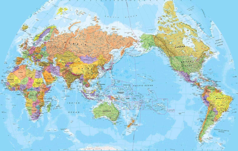 World Pacific Centered Wall Map Fully by MapsInternationalUSA