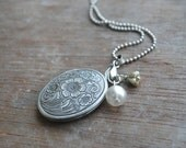 """Edelweiss 2 """""""" Antique silver locket / winter jewelry / christmas / gifts for her / winter trends / white"""