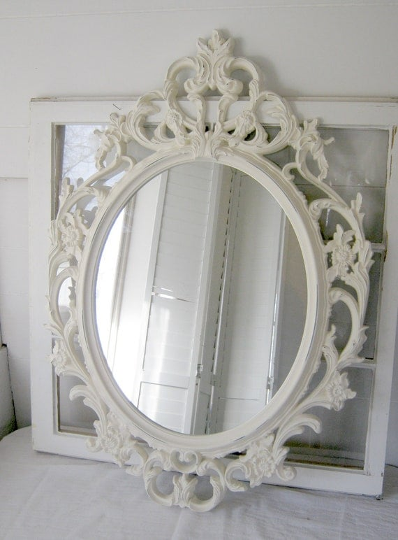 Antique white baroque oval mirror antique white by for Plastic baroque mirror